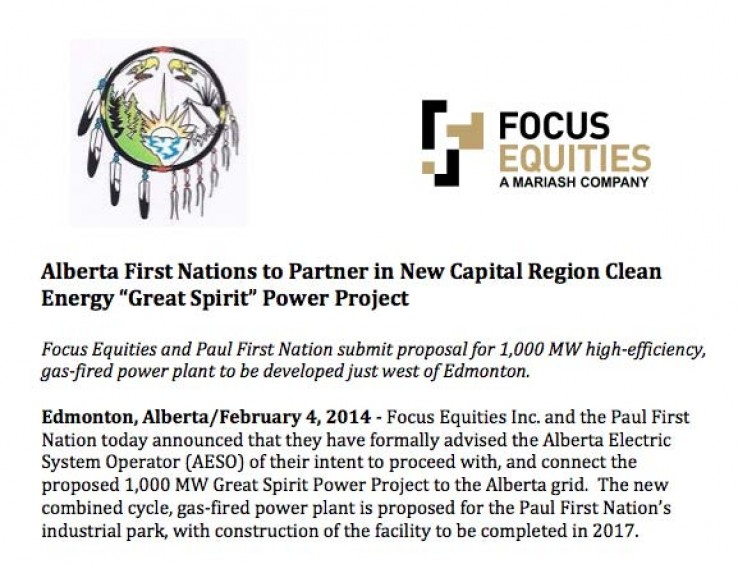 News Release - Great Spirit Power Project
