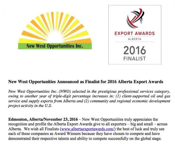 NWO News Release - 2016 Alberta Export Awards